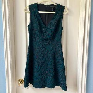 BCBG Dark Green Leopard Print A-line Dress
